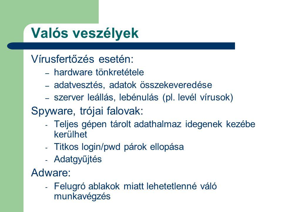 Valós veszélyek Vírusfertőzés esetén: – hardware tönkretétele – adatvesztés, adatok összekeveredése – szerver leállás, lebénulás (pl. levél vírusok) S