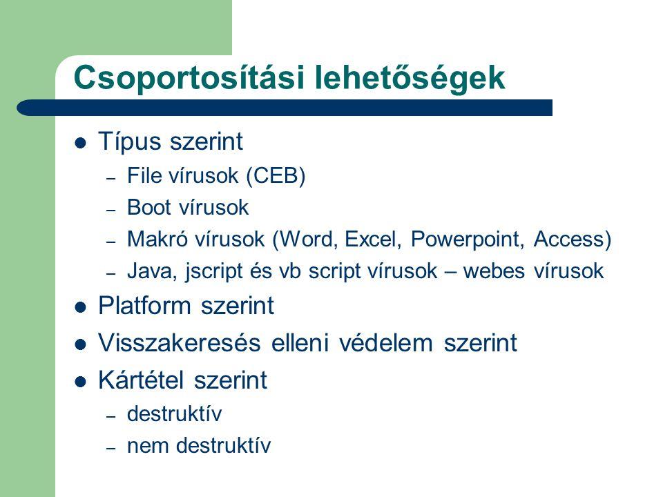 Csoportosítási lehetőségek  Típus szerint – File vírusok (CEB) – Boot vírusok – Makró vírusok (Word, Excel, Powerpoint, Access) – Java, jscript és vb script vírusok – webes vírusok  Platform szerint  Visszakeresés elleni védelem szerint  Kártétel szerint – destruktív – nem destruktív