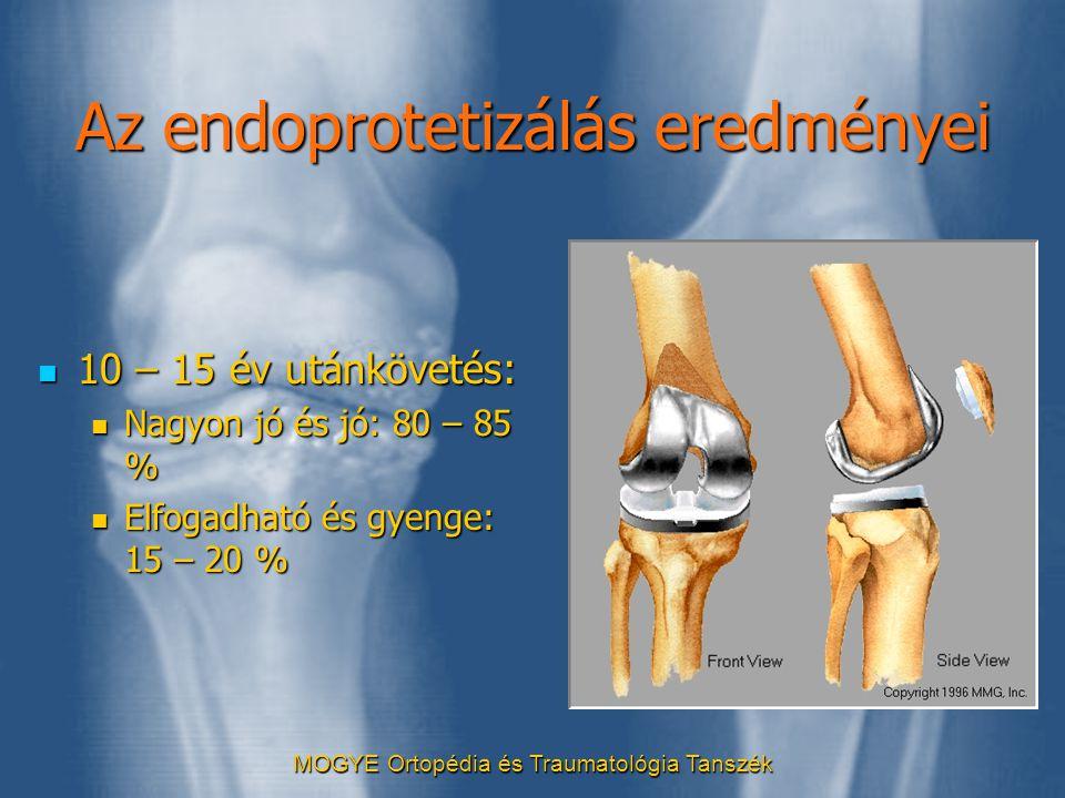 MOGYE Ortopédia és Traumatológia Tanszék Az endoprotetizálás eredményei  10 – 15 év utánkövetés:  Nagyon jó és jó: 80 – 85 %  Elfogadható és gyenge