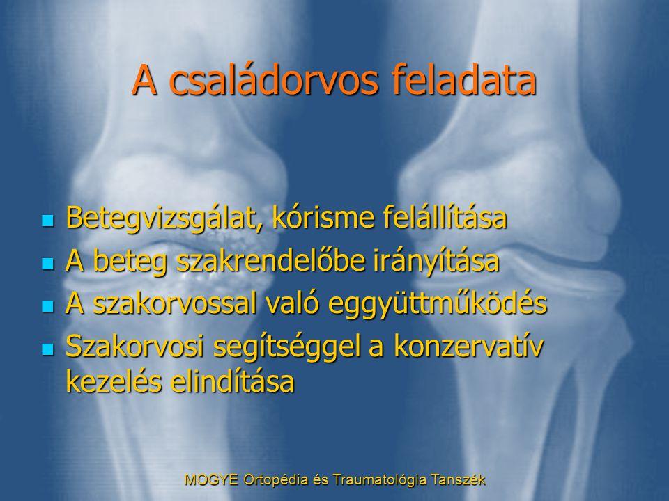 MOGYE Ortopédia és Traumatológia Tanszék A családorvos feladata  Betegvizsgálat, kórisme felállítása  A beteg szakrendelőbe irányítása  A szakorvos