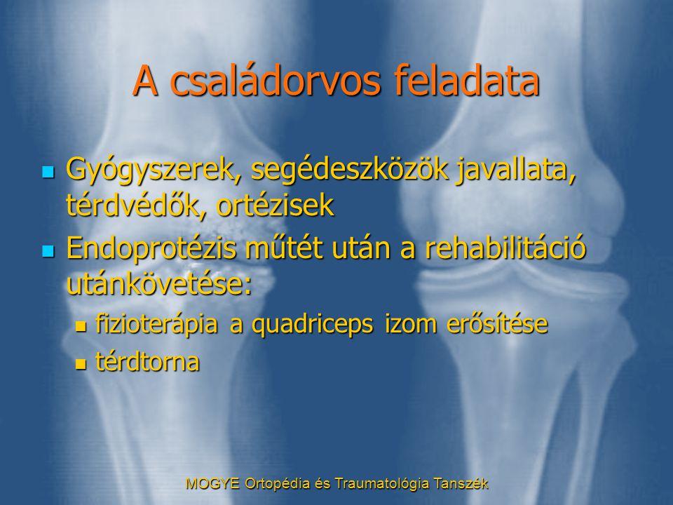 MOGYE Ortopédia és Traumatológia Tanszék A családorvos feladata  Gyógyszerek, segédeszközök javallata, térdvédők, ortézisek  Endoprotézis műtét után