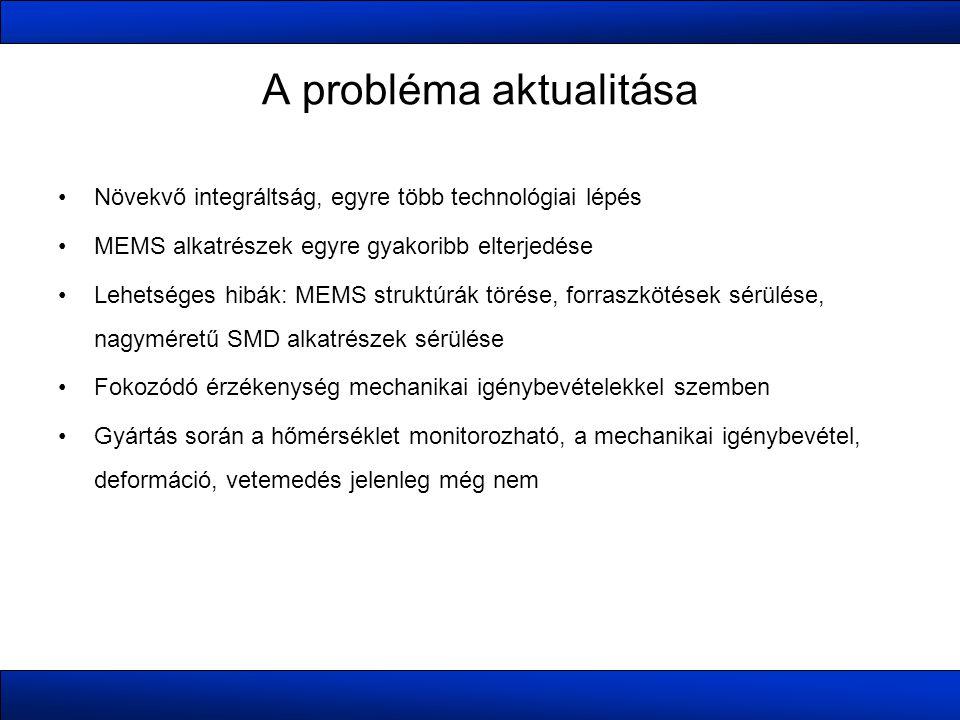 A probléma aktualitása •Növekvő integráltság, egyre több technológiai lépés •MEMS alkatrészek egyre gyakoribb elterjedése •Lehetséges hibák: MEMS struktúrák törése, forraszkötések sérülése, nagyméretű SMD alkatrészek sérülése •Fokozódó érzékenység mechanikai igénybevételekkel szemben •Gyártás során a hőmérséklet monitorozható, a mechanikai igénybevétel, deformáció, vetemedés jelenleg még nem
