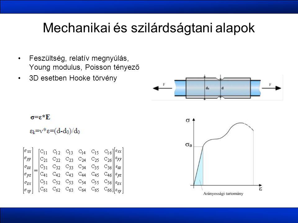 Mechanikai és szilárdságtani alapok •Feszültség, relatív megnyúlás, Young modulus, Poisson tényező •3D esetben Hooke törvény