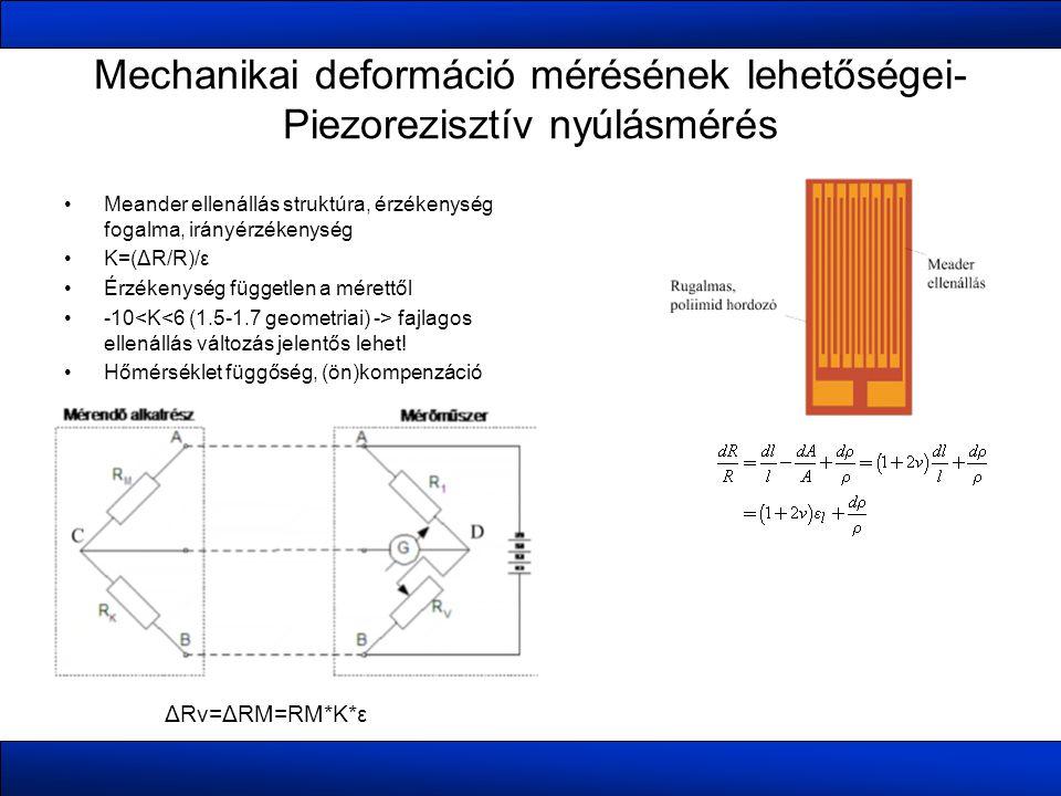 Mechanikai deformáció mérésének lehetőségei- Piezorezisztív nyúlásmérés •Meander ellenállás struktúra, érzékenység fogalma, irányérzékenység •K=(ΔR/R)/ε •Érzékenység független a mérettől •-10 fajlagos ellenállás változás jelentős lehet.