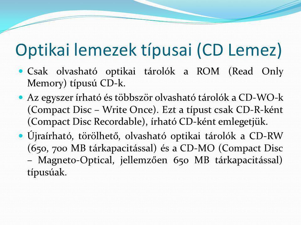 Optikai lemezek típusai (CD Lemez)  Csak olvasható optikai tárolók a ROM (Read Only Memory) típusú CD-k.