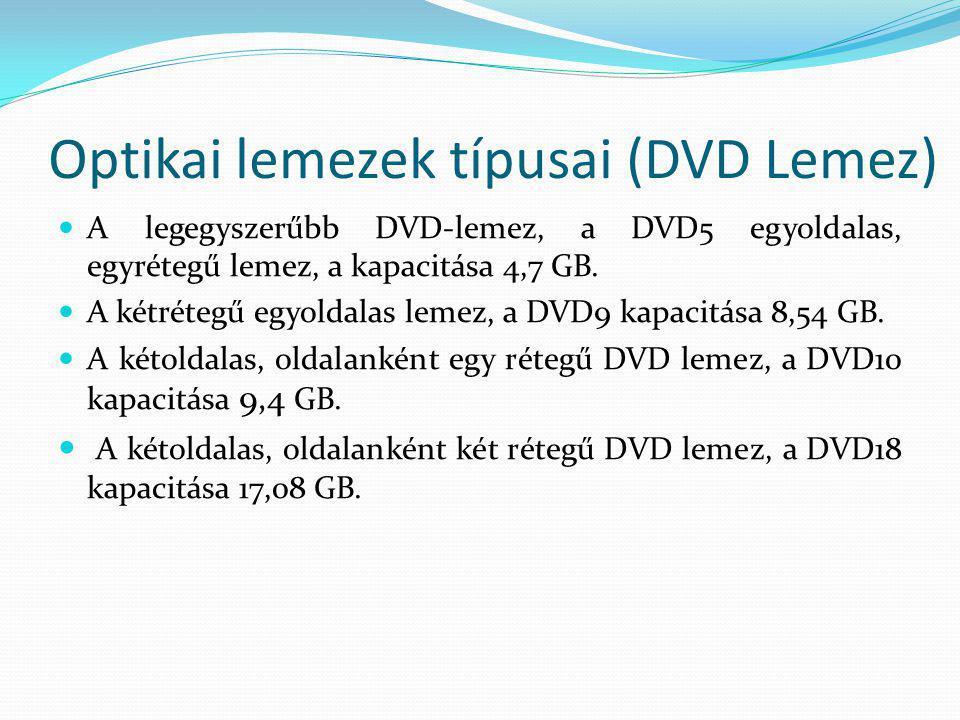 Optikai lemezek típusai (DVD Lemez)  A legegyszerűbb DVD-lemez, a DVD5 egyoldalas, egyrétegű lemez, a kapacitása 4,7 GB.