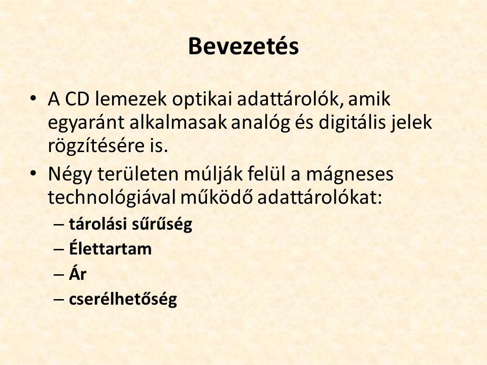 Bevezetés • A CD lemezek optikai adattárolók, amik egyaránt alkalmasak analóg és digitális jelek rögzítésére is. • Négy területen múlják felül a mágne