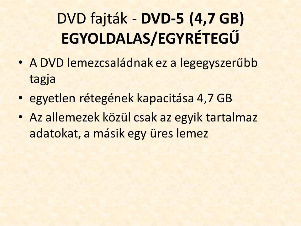 DVD fajták - DVD-5 (4,7 GB) EGYOLDALAS/EGYRÉTEGŰ • A DVD lemezcsaládnak ez a legegyszerűbb tagja • egyetlen rétegének kapacitása 4,7 GB • Az allemezek