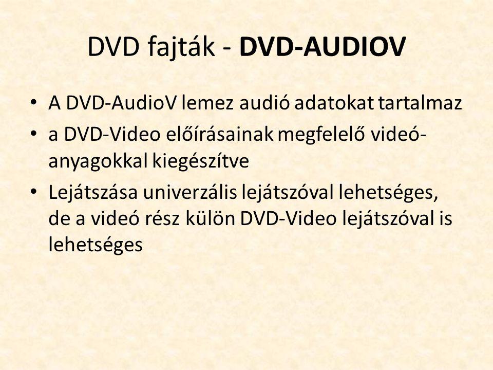 DVD fajták - DVD-AUDIOV • A DVD-AudioV lemez audió adatokat tartalmaz • a DVD-Video előírásainak megfelelő videó- anyagokkal kiegészítve • Lejátszása