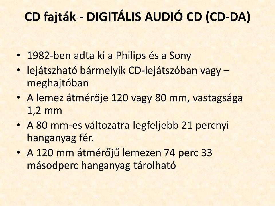 CD fajták - DIGITÁLIS AUDIÓ CD (CD-DA) • 1982-ben adta ki a Philips és a Sony • lejátszható bármelyik CD-lejátszóban vagy – meghajtóban • A lemez átmé