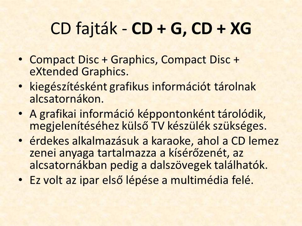 CD fajták - CD + G, CD + XG • Compact Disc + Graphics, Compact Disc + eXtended Graphics. • kiegészítésként grafikus információt tárolnak alcsatornákon