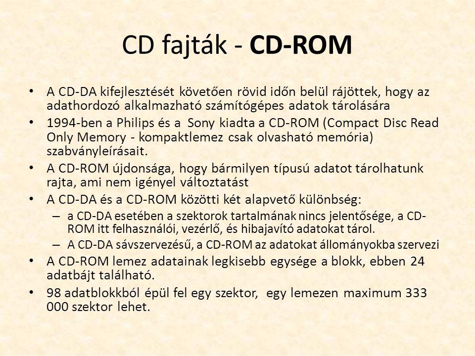CD fajták - CD-ROM • A CD-DA kifejlesztését követően rövid időn belül rájöttek, hogy az adathordozó alkalmazható számítógépes adatok tárolására • 1994-ben a Philips és a Sony kiadta a CD-ROM (Compact Disc Read Only Memory - kompaktlemez csak olvasható memória) szabványleírásait.