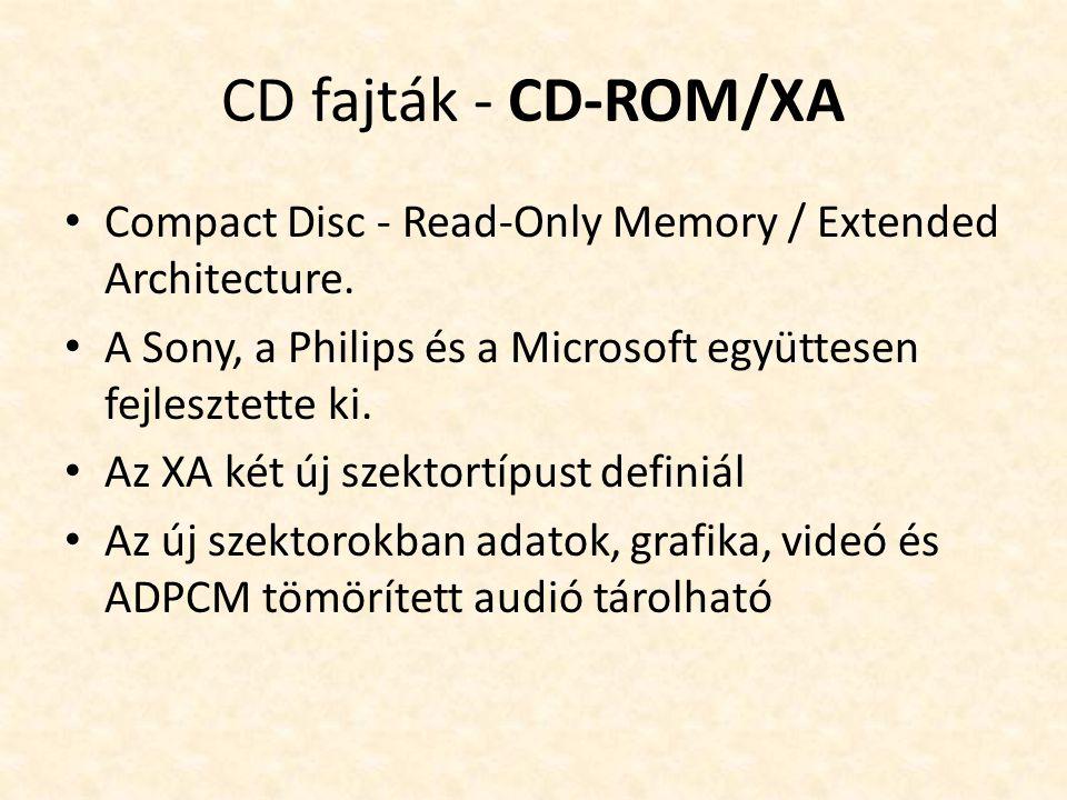 CD fajták - CD-ROM/XA • Compact Disc - Read-Only Memory / Extended Architecture. • A Sony, a Philips és a Microsoft együttesen fejlesztette ki. • Az X