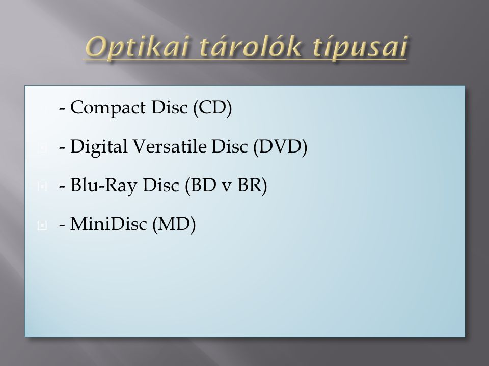  - Compact Disc (CD)  - Digital Versatile Disc (DVD)  - Blu-Ray Disc (BD v BR)  - MiniDisc (MD)  - Compact Disc (CD)  - Digital Versatile Disc (DVD)  - Blu-Ray Disc (BD v BR)  - MiniDisc (MD)