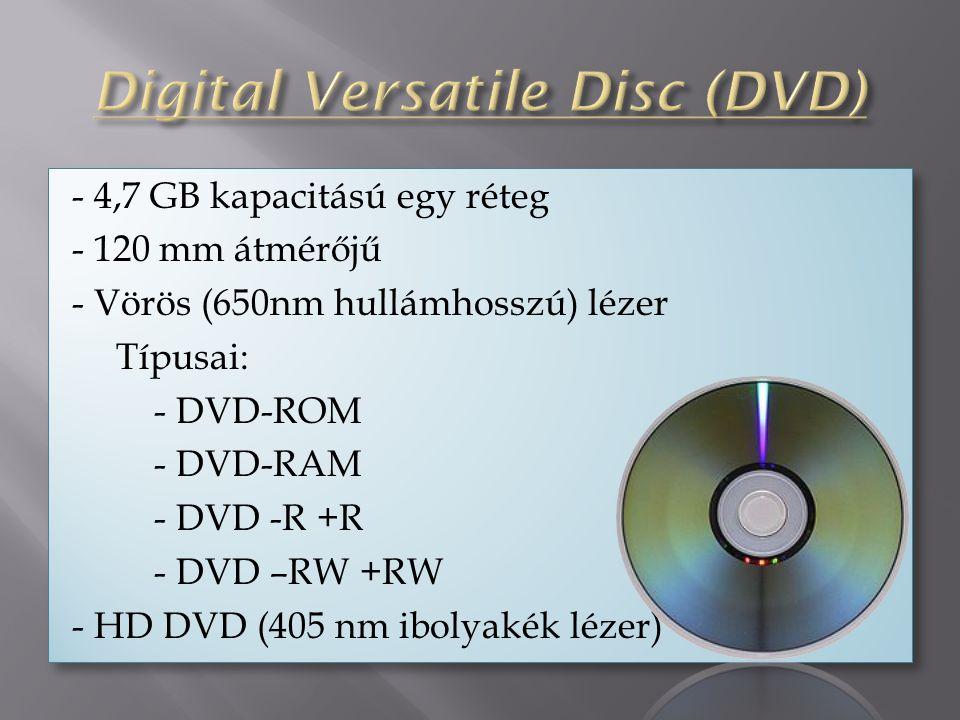 - 4,7 GB kapacitású egy réteg - 120 mm átmérőjű - Vörös (650nm hullámhosszú) lézer Típusai: - DVD-ROM - DVD-RAM - DVD -R +R - DVD –RW +RW - HD DVD (405 nm ibolyakék lézer) - 4,7 GB kapacitású egy réteg - 120 mm átmérőjű - Vörös (650nm hullámhosszú) lézer Típusai: - DVD-ROM - DVD-RAM - DVD -R +R - DVD –RW +RW - HD DVD (405 nm ibolyakék lézer)