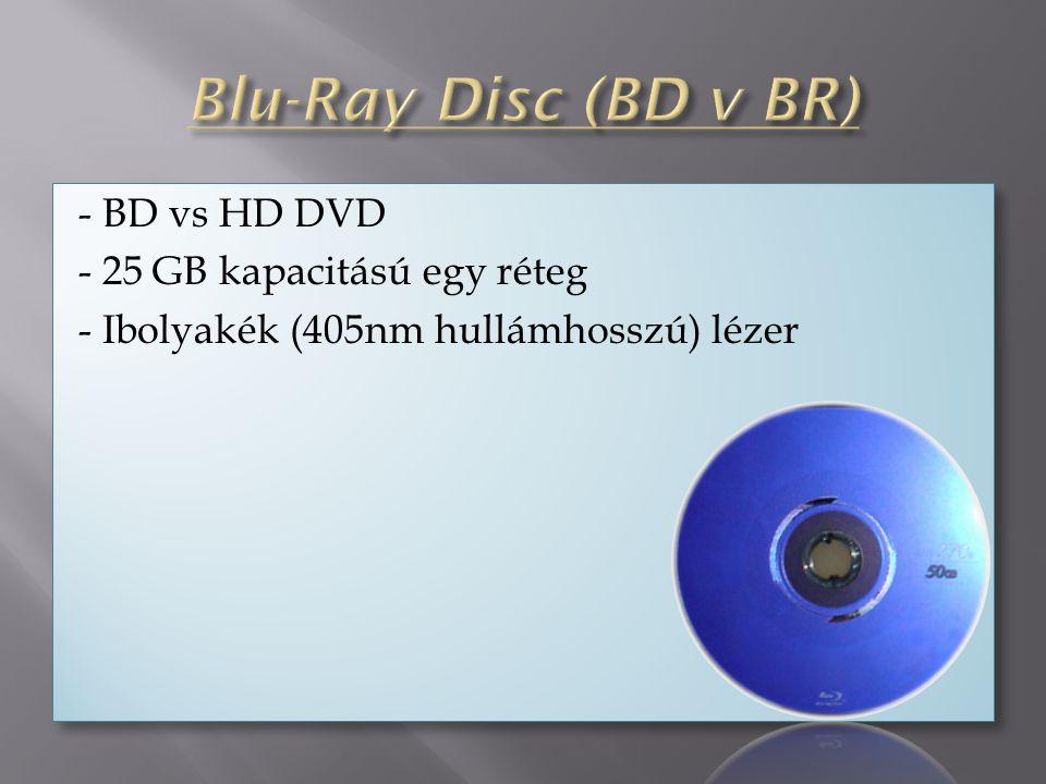 - BD vs HD DVD - 25 GB kapacitású egy réteg - Ibolyakék (405nm hullámhosszú) lézer - BD vs HD DVD - 25 GB kapacitású egy réteg - Ibolyakék (405nm hullámhosszú) lézer