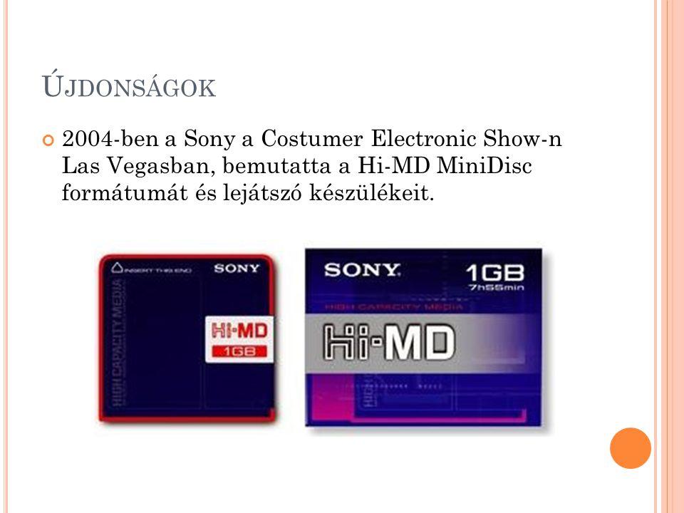 Ú JDONSÁGOK 2004-ben a Sony a Costumer Electronic Show-n Las Vegasban, bemutatta a Hi-MD MiniDisc formátumát és lejátszó készülékeit.