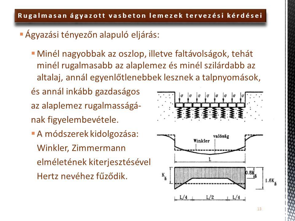 Rugalmasan ágyazott vasbeton lemezek tervezési kérdései  Ágyazási tényezőn alapuló eljárás:  Minél nagyobbak az oszlop, illetve faltávolságok, tehát