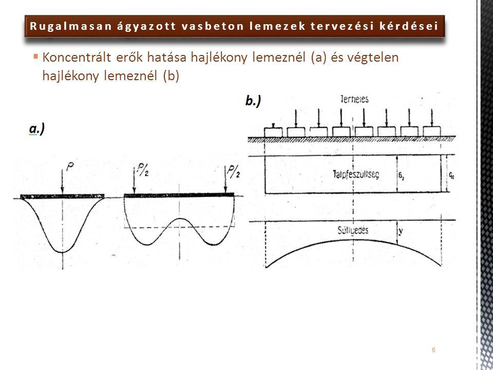 Rugalmasan ágyazott vasbeton lemezek tervezési kérdései  Anyagmodellek:  Felkeményedő (hiperbolikus modellek közé tartozik és másodrendű közelítést alkalmazva írja le a rugalmas- képlékeny viselkedést, így képes figyelembe venni, hogy a nagyobb átlagos normálfeszültséggel terhelt talajzónák kisebb alakváltozást szenvednek, azaz merevebben viselkednek):  c: kohézió  ϕ: belső súrlódási szög  ψ: dilatációs szög (Jáky ajánlása alapján: ψ=ϕ-30°)  E 50 ref :a deviátor-feszültség 50%-ához tartozó húr modulus a drénezett triaxiális vizsgálatnál  E eod ref : összenyomódási modulus (a referencia feszültség értékéhez tartozó érintő modulus az ödométeres vizsgálatnál)  E ur ref : a tehermentesítés-újraterhelés folyamatához tartozó húr modulus  m: a kompressziós görbét leíró hatványfüggvény kitevője 27