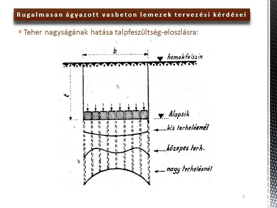  A nyomatéki eloszlást tekintve a hajlékony (40 cm) és a merev (100 cm) alaplemez esetén ugyanazok figyelhetők meg a Plaxis és az AXIS eredmények összehasonlításával:  a negatív nyomatékok Axis VM modellből kapott értéke jelentősen nagyobb mindkét esetben, mint a PLAXIS modellből kapottak  a pontosabb ágyazattal kapott pozitív nyomatékok nagyon jól visszaadják a PLAXIS-eredményeket  a közelítő (javított Winkler-) ágyazat a szélső mezőben túlbecsli, a középső mezőben pedig jelentősen alulbecsli a pozitív nyomatékok értékét Rugalmasan ágyazott vasbeton lemezek tervezési kérdései 60
