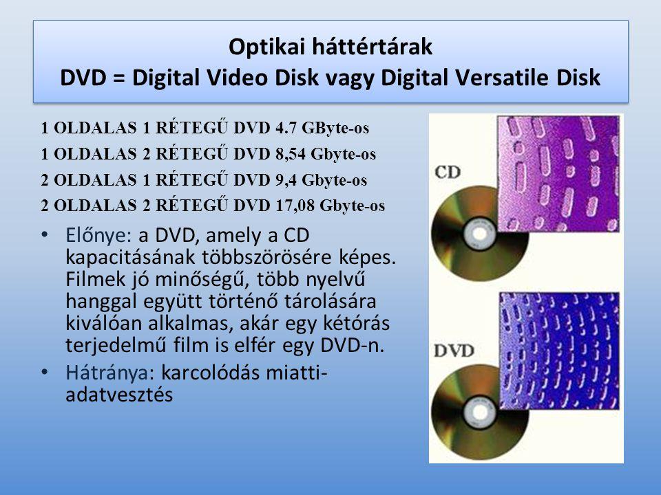 Optikai háttértárak DVD = Digital Video Disk vagy Digital Versatile Disk 1 OLDALAS 1 RÉTEGŰ DVD 4.7 GByte-os 1 OLDALAS 2 RÉTEGŰ DVD 8,54 Gbyte-os 2 OLDALAS 1 RÉTEGŰ DVD 9,4 Gbyte-os 2 OLDALAS 2 RÉTEGŰ DVD 17,08 Gbyte-os • Előnye: a DVD, amely a CD kapacitásának többszörösére képes.