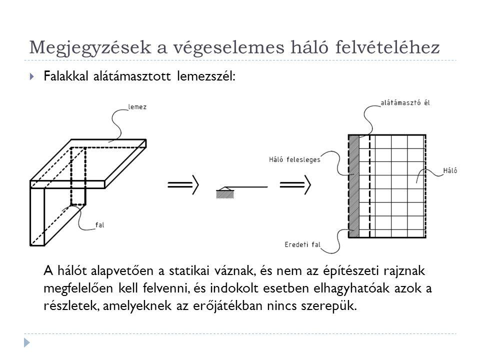 Megjegyzések a végeselemes háló felvételéhez  Falakkal alátámasztott lemezszél: A hálót alapvetően a statikai váznak, és nem az építészeti rajznak me