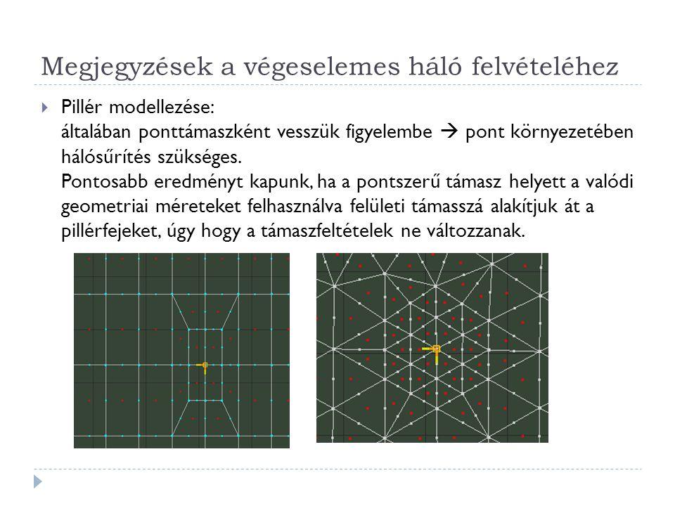 Megjegyzések a végeselemes háló felvételéhez  Pillér modellezése: általában ponttámaszként vesszük figyelembe  pont környezetében hálósűrítés szüksé