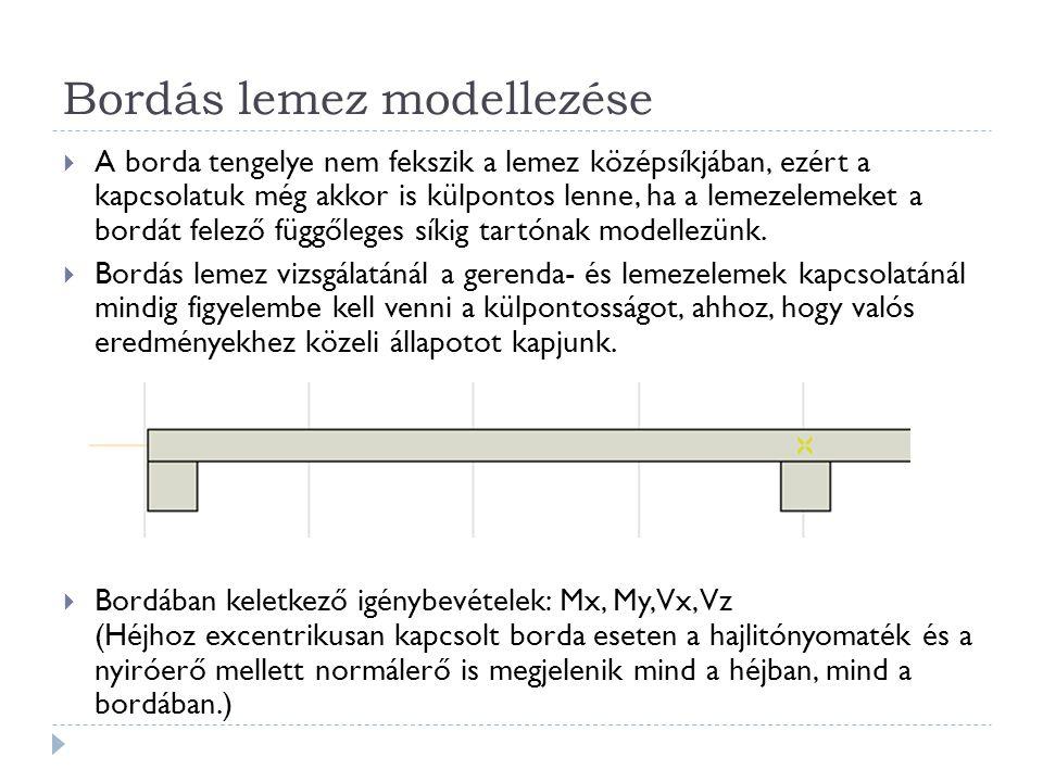 Bordás lemez modellezése  A borda tengelye nem fekszik a lemez középsíkjában, ezért a kapcsolatuk még akkor is külpontos lenne, ha a lemezelemeket a