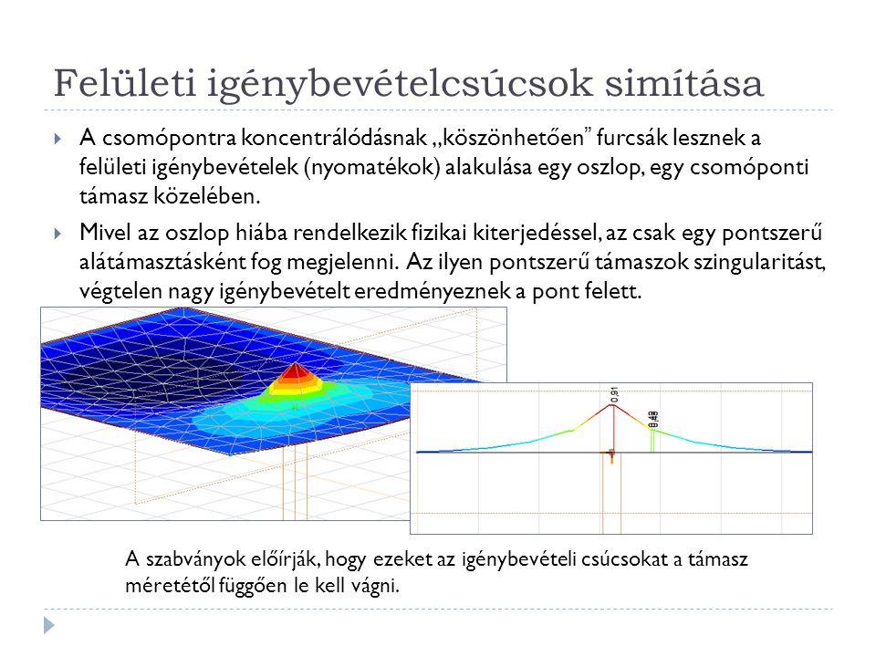 """Felületi igénybevételcsúcsok simítása  A csomópontra koncentrálódásnak """"köszönhetően"""" furcsák lesznek a felületi igénybevételek (nyomatékok) alakulás"""