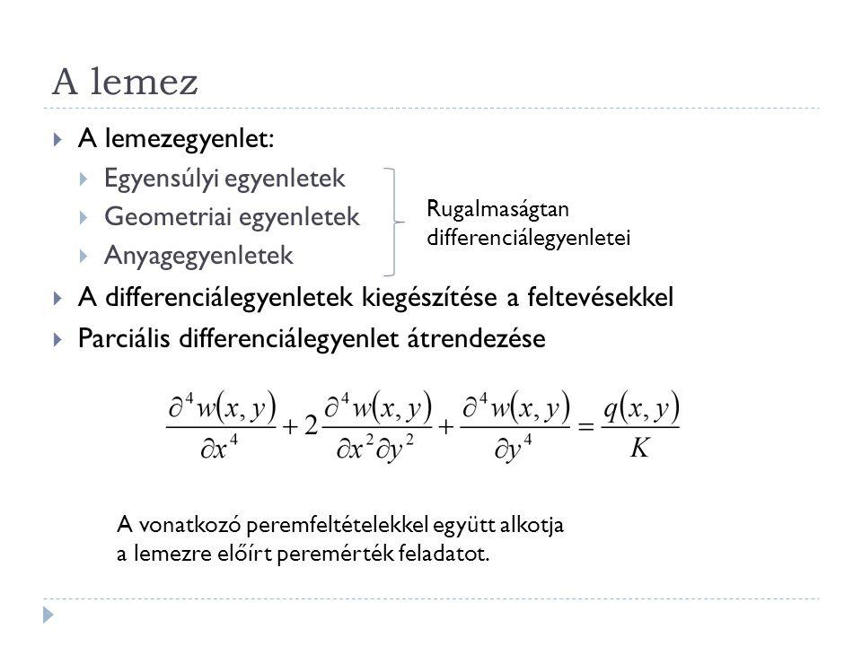 A lemez  A lemezegyenlet:  Egyensúlyi egyenletek  Geometriai egyenletek  Anyagegyenletek  A differenciálegyenletek kiegészítése a feltevésekkel 