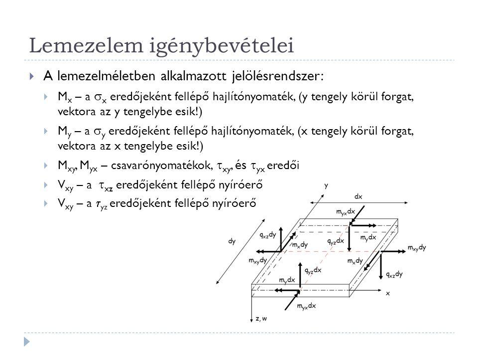 Lemezelem igénybevételei  A lemezelméletben alkalmazott jelölésrendszer:  M x – a  x eredőjeként fellépő hajlítónyomaték, (y tengely körül forgat,