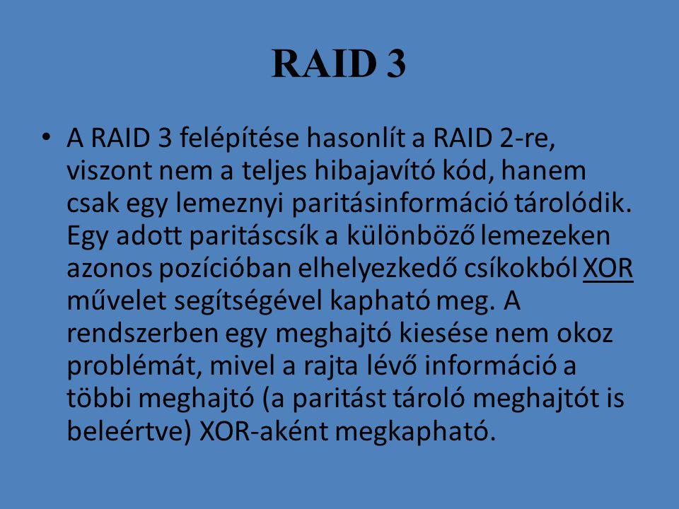 RAID 3 • A RAID 3 felépítése hasonlít a RAID 2-re, viszont nem a teljes hibajavító kód, hanem csak egy lemeznyi paritásinformáció tárolódik. Egy adott