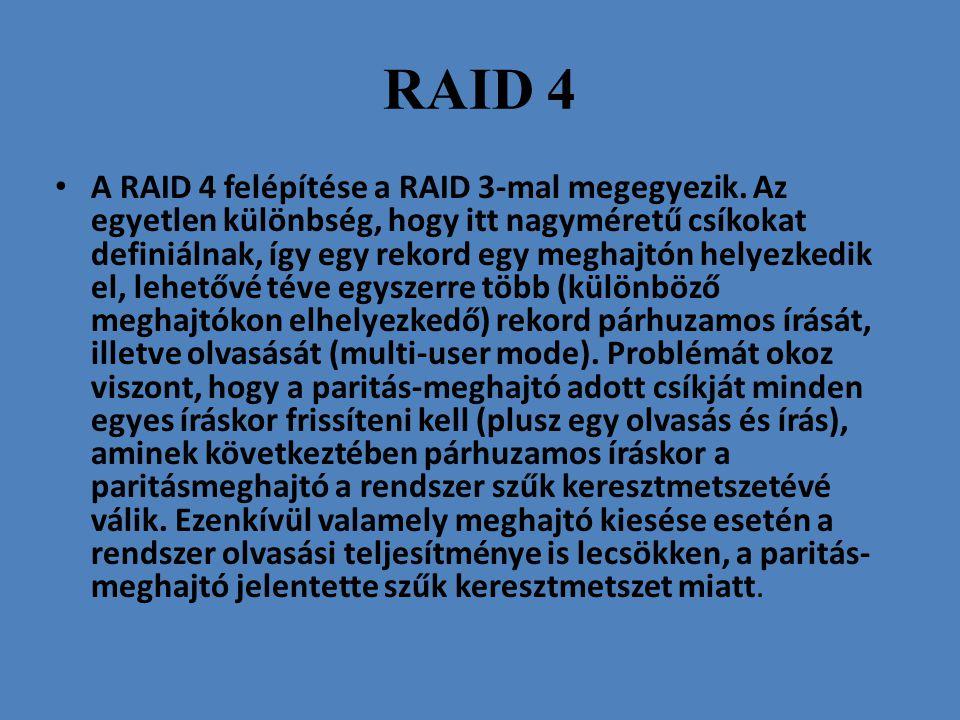 RAID 4 • A RAID 4 felépítése a RAID 3-mal megegyezik. Az egyetlen különbség, hogy itt nagyméretű csíkokat definiálnak, így egy rekord egy meghajtón he