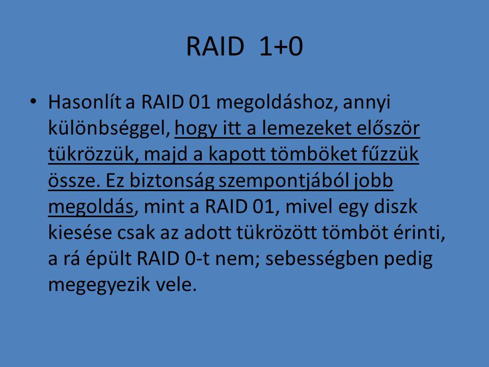 RAID 1+0 • Hasonlít a RAID 01 megoldáshoz, annyi különbséggel, hogy itt a lemezeket először tükrözzük, majd a kapott tömböket fűzzük össze. Ez biztons