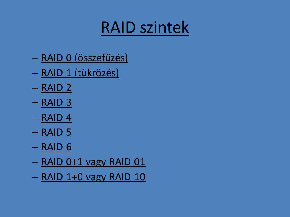 RAID szintek – RAID 0 (összefűzés) – RAID 1 (tükrözés) – RAID 2 – RAID 3 – RAID 4 – RAID 5 – RAID 6 – RAID 0+1 vagy RAID 01 – RAID 1+0 vagy RAID 10