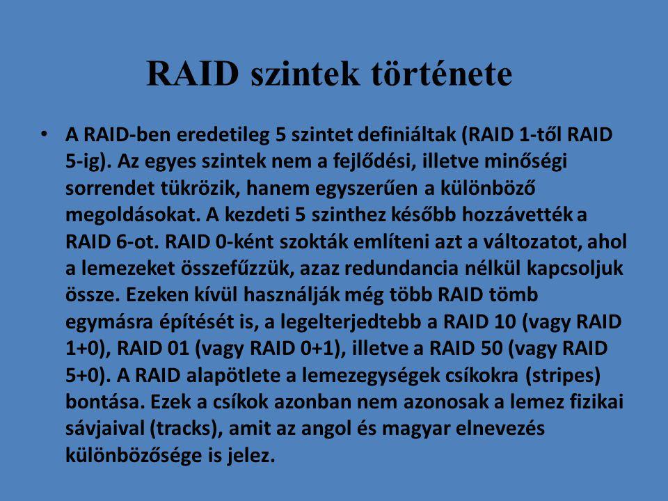 RAID szintek története • A RAID-ben eredetileg 5 szintet definiáltak (RAID 1-től RAID 5-ig). Az egyes szintek nem a fejlődési, illetve minőségi sorren