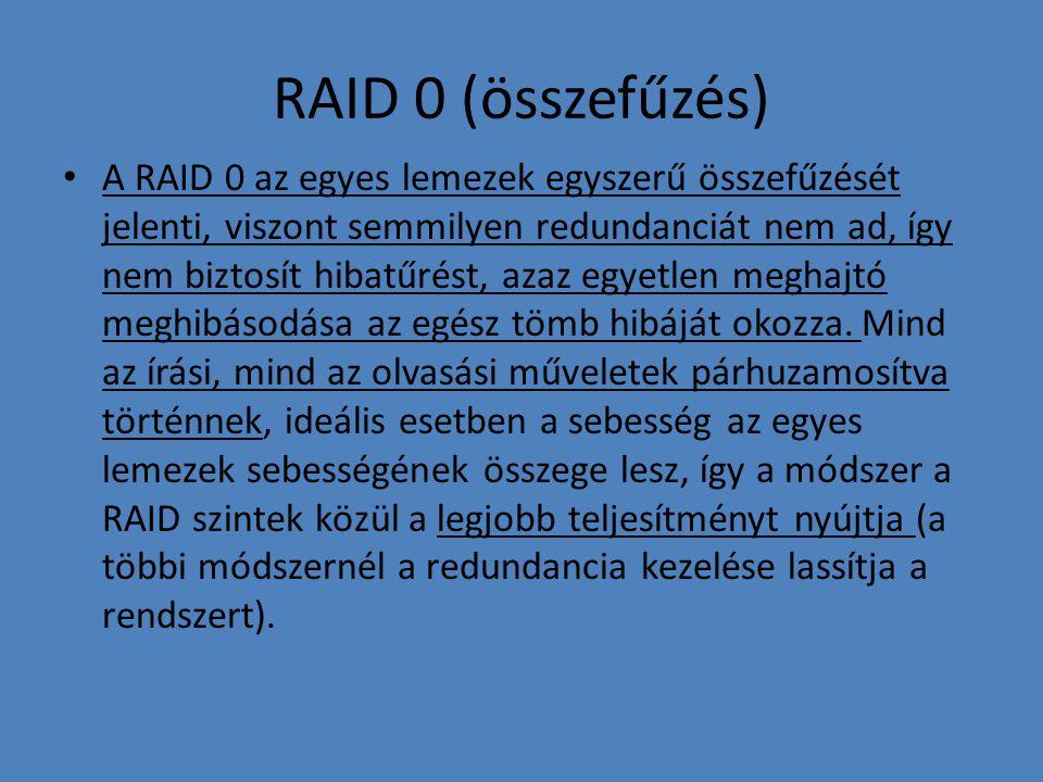 RAID 0 (összefűzés) • A RAID 0 az egyes lemezek egyszerű összefűzését jelenti, viszont semmilyen redundanciát nem ad, így nem biztosít hibatűrést, aza