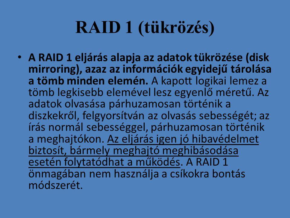 RAID 1 (tükrözés) • A RAID 1 eljárás alapja az adatok tükrözése (disk mirroring), azaz az információk egyidejű tárolása a tömb minden elemén. A kapott