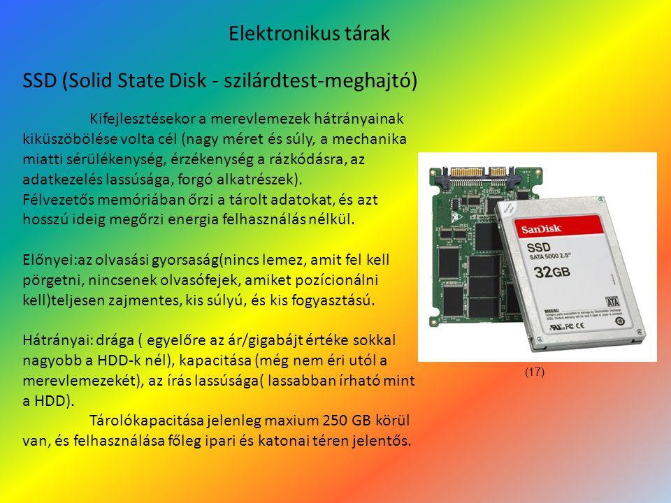 Elektronikus tárak SSD (Solid State Disk - szilárdtest-meghajtó) Kifejlesztésekor a merevlemezek hátrányainak kiküszöbölése volta cél (nagy méret és súly, a mechanika miatti sérülékenység, érzékenység a rázkódásra, az adatkezelés lassúsága, forgó alkatrészek).