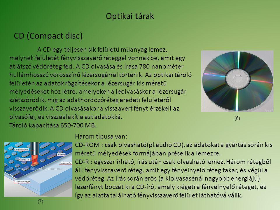 Optikai tárak CD (Compact disc) A CD egy teljesen sík felületü műanyag lemez, melynek felületét fényvisszaverő réteggel vonnak be, amit egy átlátszó védőréteg fed.