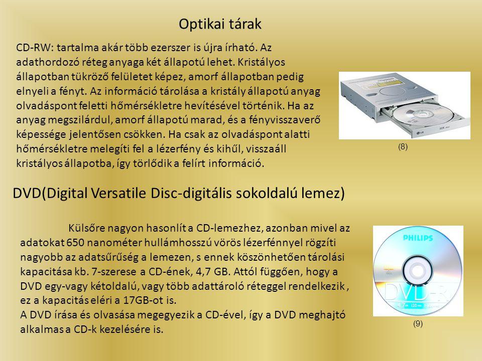 BD(Blue-ray Disc) Optikai tárak A hagyományos DVD lemezek továbbfejlesztett változata.