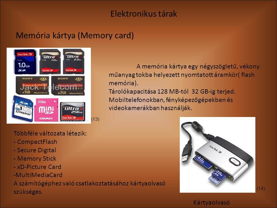 Elektronikus tárak Memória kártya (Memory card) Kártyaolvasó A memória kártya egy négyszögletű, vékony műanyag tokba helyezett nyomtatott áramkör( flash memória).