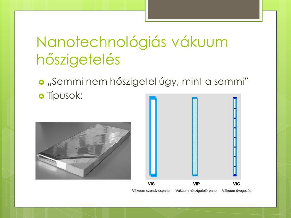 """Nanotechnológiás vákuum hőszigetelés  """"Semmi nem hőszigetel úgy, mint a semmi""""  Típusok:"""