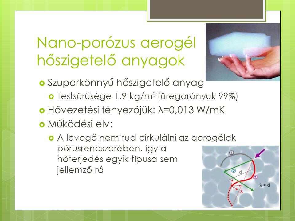 Nano-porózus aerogél hőszigetelő anyagok  Szuperkönnyű hőszigetelő anyag  Testsűrűsége 1,9 kg/m 3 (üregarányuk 99%)  Hővezetési tényezőjük: λ=0,013