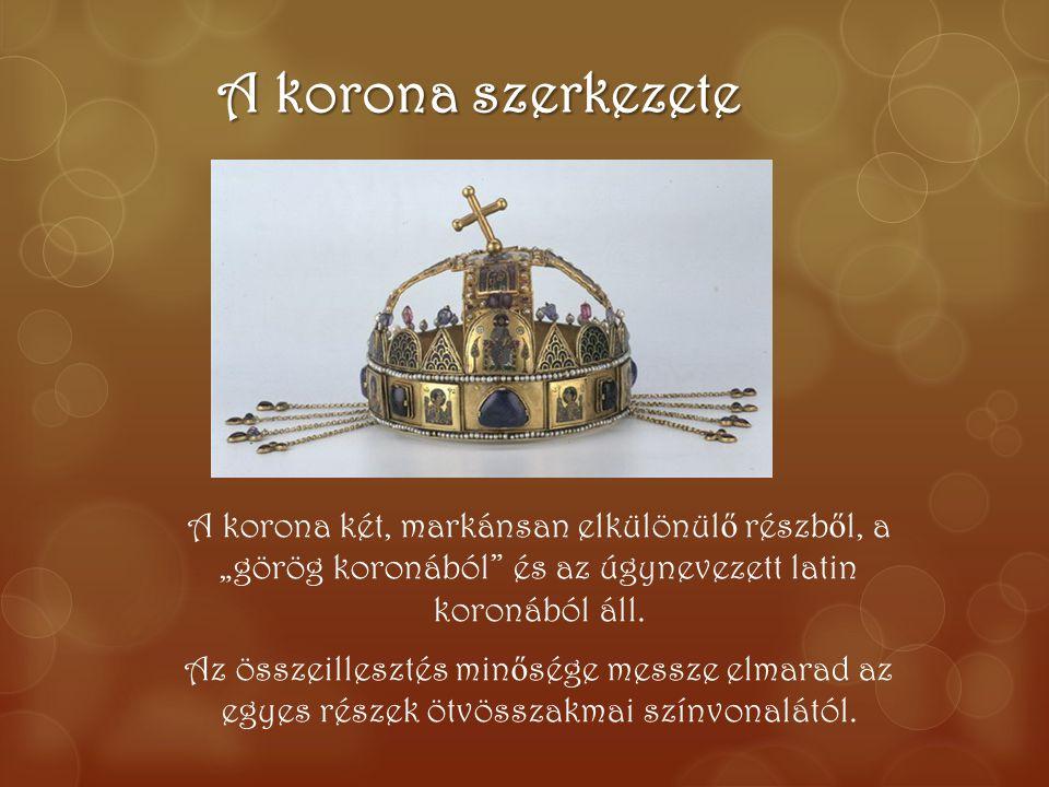 """A korona szerkezete A korona két, markánsan elkülönül ő részb ő l, a """"görög koronából"""" és az úgynevezett latin koronából áll. Az összeillesztés min ő"""