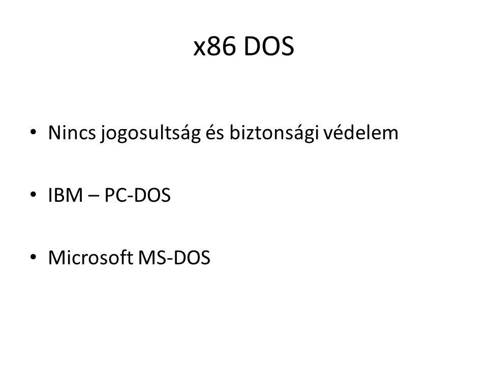 x86 DOS • Nincs jogosultság és biztonsági védelem • IBM – PC-DOS • Microsoft MS-DOS