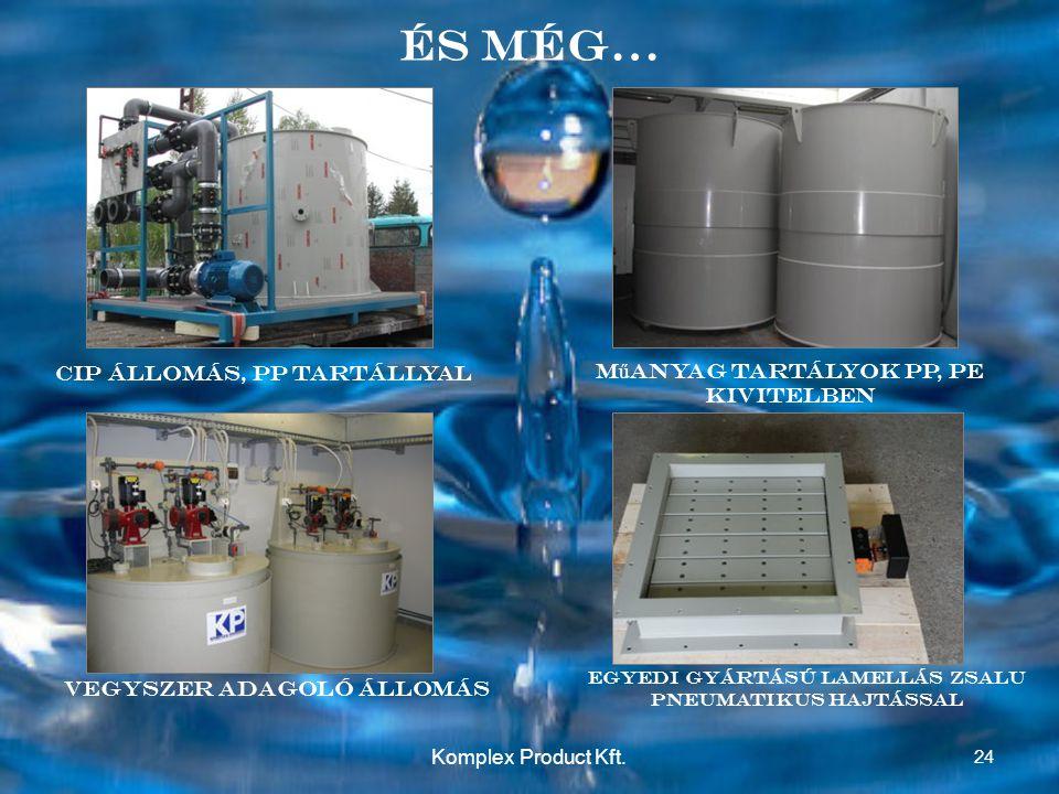 És még… M ű anyag tartályok PP, PE kivitelben Vegyszer Adagoló állomás CIP állomás, PP tartállyal Egyedi gyártású lamellás zsalu pneumatikus hajtással 24 Komplex Product Kft.