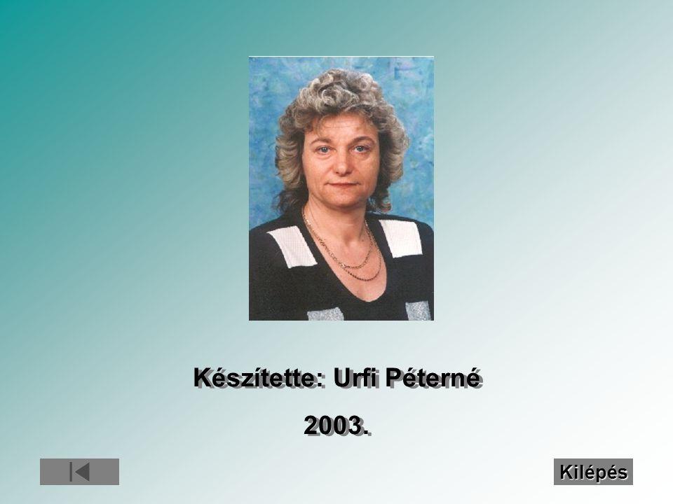 Készítette: Urfi Péterné 2003. Készítette: Urfi Péterné 2003. Kilépés