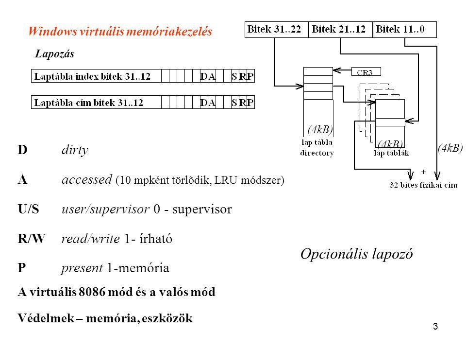 3 Ddirty Aaccessed (10 mpként törlõdik, LRU módszer) U/Suser/supervisor 0 - supervisor R/Wread/write 1- írható Ppresent 1-memória Windows virtuális me