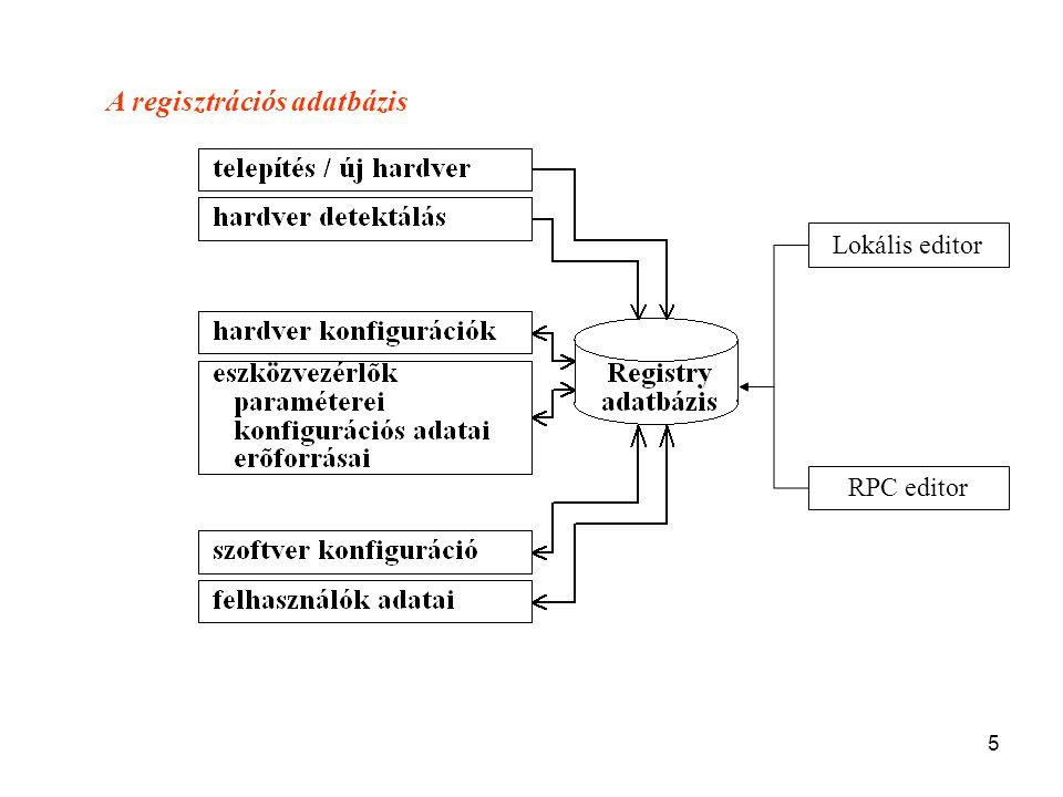 5 A regisztrációs adatbázis Lokális editor RPC editor